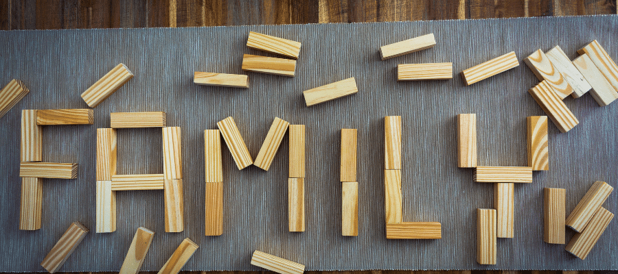 Family spelled out using Jenga pieces.