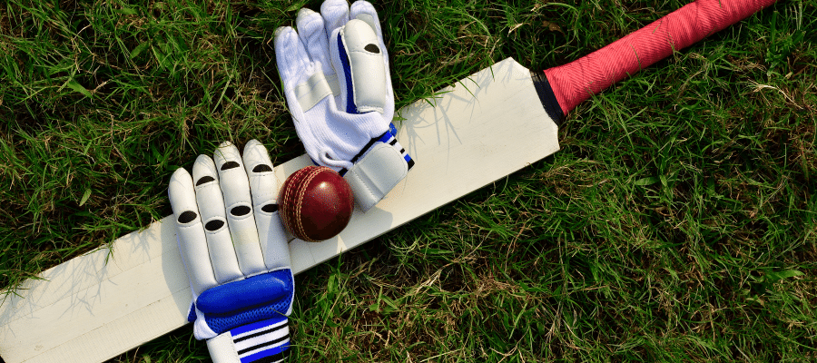 Cricket bat, ball, and gloves on lawn